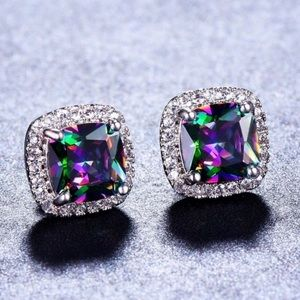 Mystic Rainbow Topaz Princess Cut Stud Earrings
